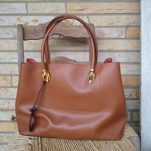 London Fog • large faux leather tote shoulder bag